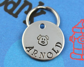 SMALL Dog Tag - Nickel Silver Customized Pet Tag - Small Dog Name Tag - Other Metals Available