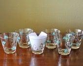 1950's Federal Glass Contemporary Pattern Turquoise Boomerang Atomic Amoeba Whiskey Glasses Set of Six
