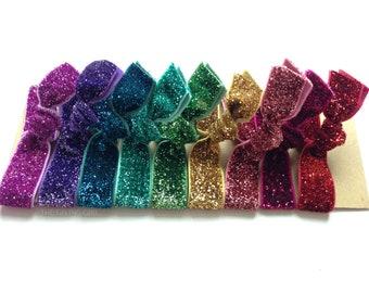 Rock Candy Set: 9 Elastic Handmade Glitter Hair Ties, Rainbow, Sparkle