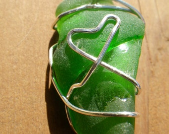 Green Beach Glass Necklace with Sterling Silver Hearts