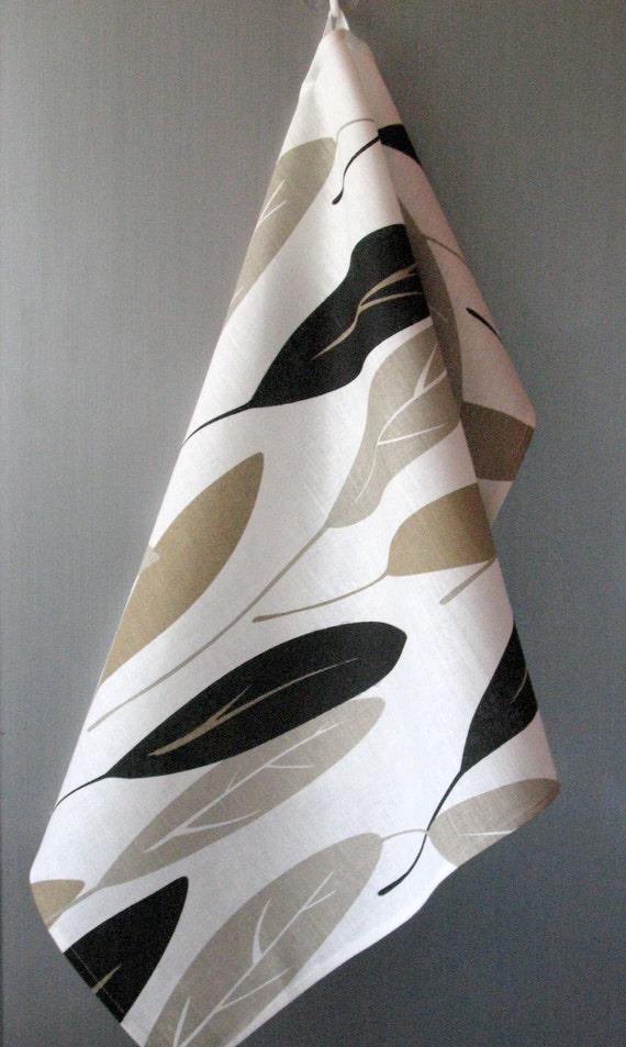 Linen Cotton Dish Towels Black Beige White Sheet Leaf - Tea Towels
