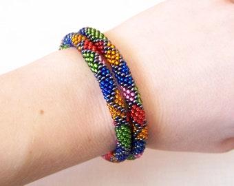 Beadwork - 2 Strand Multicolor Bead Crochet Bracelet - colorful - orange - green - red - blue - pink - grey
