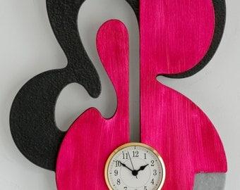 Modern Wall clock High Sheen Deep Grey Silver Magenta