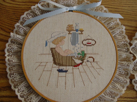 Vintage Completed Cross Stitch in Hoop Frame - Sailor Boy in Wooden Bath Tub