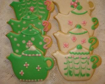Teapot Vanilla Decorated Sugar Cookies for birthday, wedding, shower  - 1 Dozen