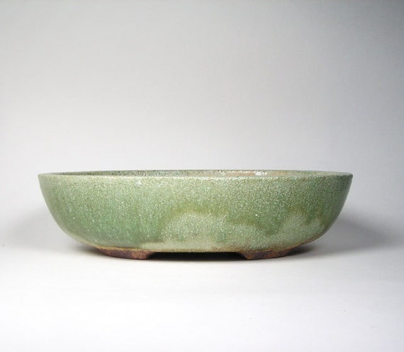 Green oval bonsai pot shallow oval flower by whistlingfishpottery