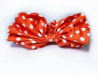 SALE 50% OFF New color - Orange and White Polka Dot Bow Hair Scrunchie Ponytail Holder