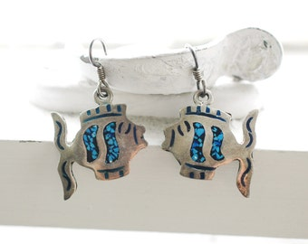 Dangling Fish Earrings     Sterling Silver     Blue & Black Inlay     Vintage     Summer Beach Jewelry