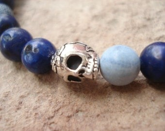 Skull Bracelet, Blue Bracelet, Bracelet for Men, Women's Bracelet, Goth Bracelet, Skull Jewelry, Beaded Bracelet, Stretch Bracelet