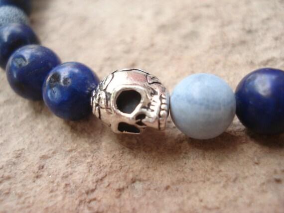 Skull Bracelet, Blue Bracelet, Bracelet for Men, Women's Bracelet, Goth Bracelet, Skull Jewelry, Beaded Bracelet, Stretch Bracelet
