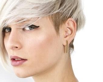 Line earrings in gold, Sterling silver bar stud earrings, Geometric post earrings, minimalist jewelry, Geometric jewelry