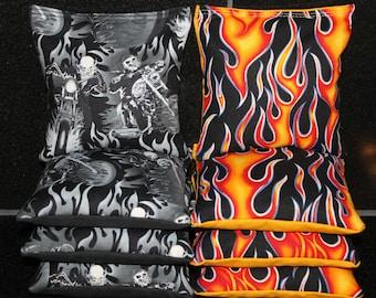 MOTORCYCLE Rider Skeleton Harley Flames Biker Cornhole Bean Bags 8 ACA Regulation Corn Hole Bags