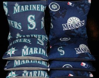 MLB Vintage Rare Seattle MARINERS 8 Top Quality Custom Handmade ACA Regulation Cornhole Bean Bags