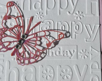 Embossed Happy Birthday card with die cut butterfly