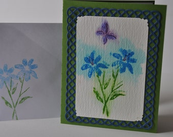 Hand stamped sympathy card, water color flowers with die cut lattice frame