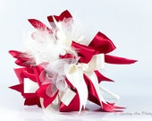 Made to Order Red and Ivory Ribbon Bouquet  'Throw Bowquet'