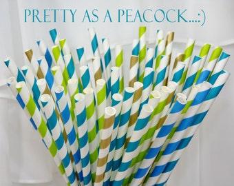 Peacock Blue 60 Paper Straws Wedding, Fairytale, Trendy, Storybook, Tea PaRtY, Brunch, Socials