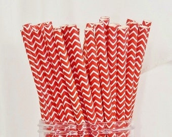 NEW Red CHEVRON Stripe 25 Paper Straws- Reunion, Wedding, Birthday, Picnic Fun, American, July 4th