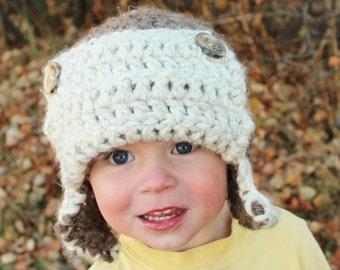 Crochet Bulky Aviator Bomber Earflap Hat
