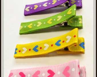 Set of 4 Bright colors Hair clips Babies Toddler Little Girls Teen Alligator Clips - Heart prints for your sweetheart