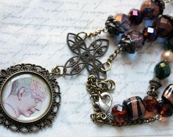 Altered art vintage anatomy victorian steampunk necklace