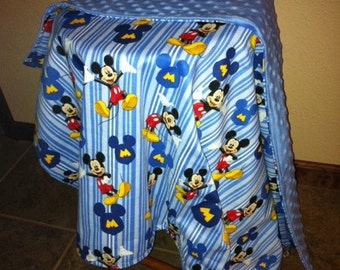 Rare Mickey Mouse patterned minky blanket  toddler sized