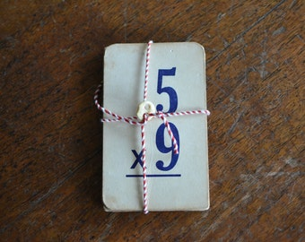 12 Vintage Flash Cards for Multiplication and Division