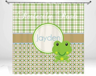 Frog Personalized Custom Shower Curtain Monogram with Name or Initials perfect for any bathroom