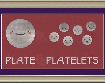 Plate and platelets: funny cross-stitch pattern