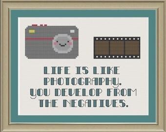 Life is like photography: cute camera cross-stitch pattern