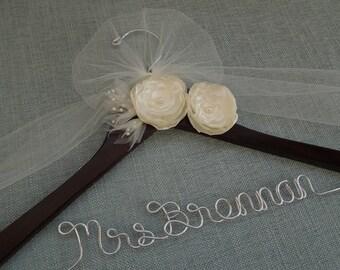 Wedding Dress Hanger, Brides Hanger, Wedding Name Hanger, Ivory Silk Handmade Flowers Wedding Dress Hanger