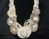"""Vintage Carol Halmy Porcelain and Rope Knotted Design 20"""" Necklace"""