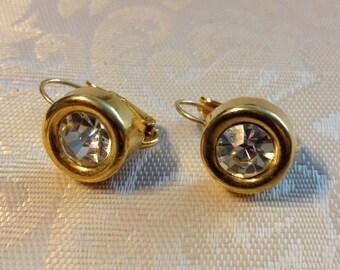 Anne Klein Pierced Gold tone and Clear Rhinestone Earrings