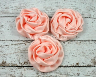 Peach Satin Rolled Rosette Flowers - Set of 3