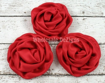 Red Rolled Rosette Flowers - Satin - Set of 3