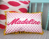 Pillow in pink ombre with bright pink personalized name.