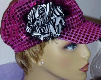Chemo Hot Pink Sequin Newsboy Hat, Diva Sequin Hat with Flower, Hot Pink Sequined Newsboy Hat