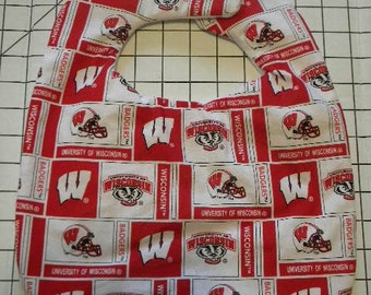 Hand Crafted University of Wisconsin Badgers Baby Bib