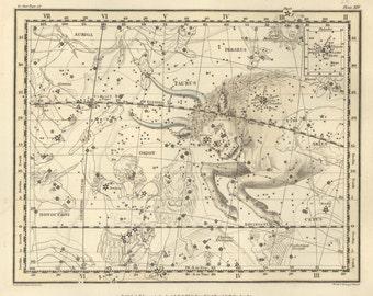 Star map, Constellation print, Zodiac prints, Constellation of the Taurus, 69