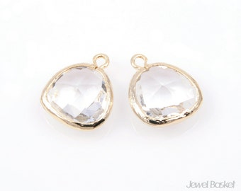 2pcs - Crystal Color and Gold Framed Glass Pendent / crystal / clear / white / 16k gold plated / glass / 13x16mm / SCRG001-P
