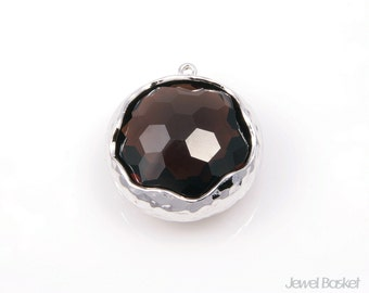 Smoky Quartz Faceted Glass and SIlverFramed Round Pendant - 1pcs Smoky Quartz Glass Round Pendant / 20mm / Jewelry Pendant / SSQS043-P