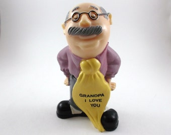 Vintage Collectible Figurine Grandpa I Love You by Russ & W. Berries Co Father Day Figurine Grandpa Grandfather Gift Plastic Funny Figurine