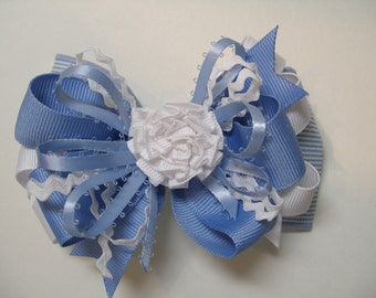Blue White Stripe Hair Bow Toddler School Girl