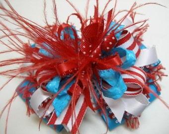 BIG Dr. Suess Inspired Over the Top Hair Bow Cute Large Fun Boutique Red Turquoise White