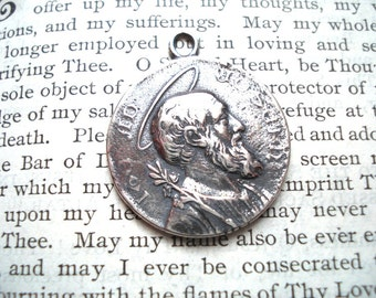 St Joseph Medal - Catholic Medal- Religious Medal - STERLING SILVER - Vintage Replica - Made in the USA