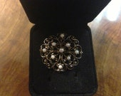 1930s brooch sterling silver with natural pearls