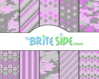 GIRL CAMOUFLAGE Collection - Digital Scrapbooking Paper Pack - 10 Sheets