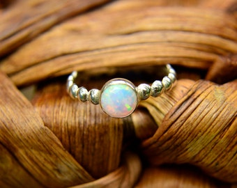 Stacking Ring in Sterling Silver and Opal, Silver Bead Ring with Opal Gemstone, October Birthstone, Bridesmaids Gifts