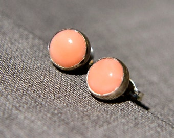 Salmon Coral Earrings,Silver Post Earrings with Salmon Coral Gemstone, Stud Earrings and 6mm Coral