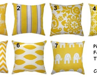 YELLOW PILLOWS Set Of 2 - 18x18 Decorative Throw Pillow Cover 18 x  18 Throw Pillows Fabric front & back